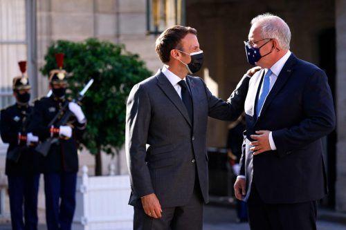 Macron (l.) und Morrison trafen sich im Juni im Paris.AFP