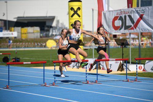 Mia-Sophie Kammerer (vorne) von der TS Lauterach war die Nummer eins bei den nationalen Titelkämpfen im Fünfkampf der U-14-Mädchen. ÖLV/Nevsimal