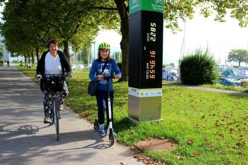 Mit Herbstbeginn am 22. September wies die neue Radzählstelle am Bodensee-Radweg im Bereich der Lochauer Hafenanlage um 16 Uhr exakt 654.600 Durchfahrten auf. bms/2