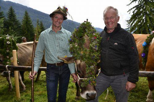 Neuer und alter Alpobmann der Alpe Dalaaser Spullers: Manfred Nessler und Johannes Gantner.dob