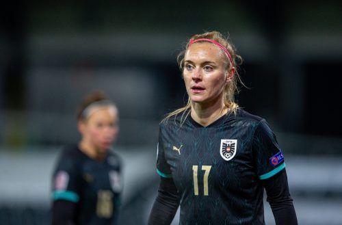 Österreichs Sarah Puntigam kürte sich beim 8:1 gegen Lettland zur Rekordspielerin.APA