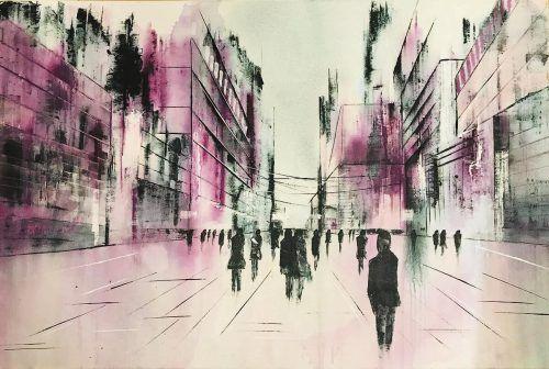 """""""Pink City"""" ist ein Werk der Künstlerin Ingrid Hauser. Hauser"""