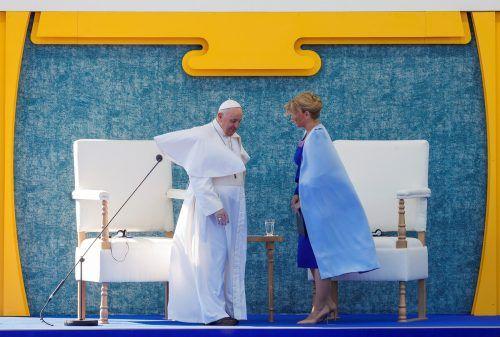 Präsidentin Zuzana Caputova empfing Papst Franziskus in der Slowakei: Er warnte bei dem Besuch vor einer Spaltung Europasnach der Krise. RTS
