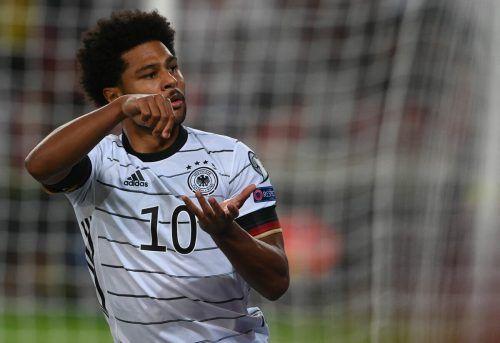 Serge Gnabry gelang gegen Armenien ein Doppelpack, dementsprechend feierte der Bayern-Spieler seine Tore.afp