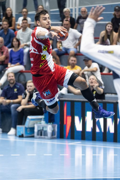 Srdjan Predragovic ist bislang mit 22 Volltreffern (Schnitt 5,5 pro Spiel) der erfolgreichste Torschütze von Meister Alpla HC Hard.VN/STiplovsek