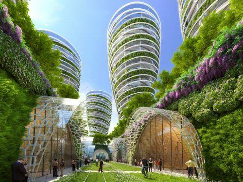 """Wir brauchen grünen, blühenden, essbaren urbanen Raum zum Überleben – mit Farmscrapern und vertikalen Grünflächen – Beispiel: """"Paris 2050"""" von Umweltarchitekt Vincent Callebaut."""