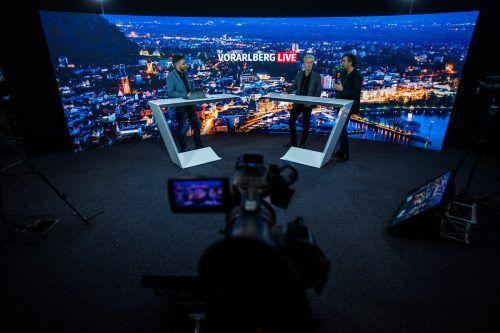 Das Duo war vor seinem Auftritt in Dornbirn bei Russmedia im Studio von Vorarlberg Live in Schwarzach zu Gast. VN/Steurer