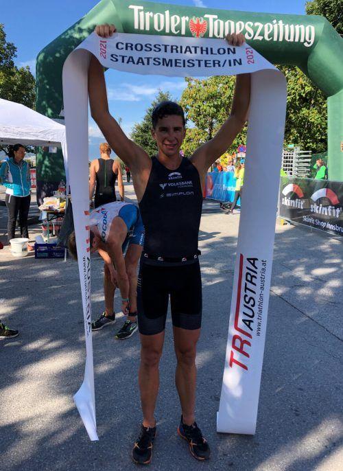 Der 20-jährige Bludenzer Moritz Meier sicherte sich bei den ÖTRV-Titelkämpfen im Crosstraithlon seinen ersten Staatsmeistertitel. VTRV