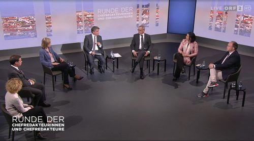 Die Runde der Chefredakteure diskutierte am Sonntag auf ORF2 (11.05 Uhr) über die Folgen des Rückzugs von Sebastian Kurz als Kanzler.