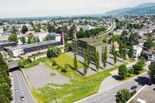 Ein Computermodell der Ausweichschule. Auf der grauen Fläche links entsteht ein Skaterplatz. Stadt