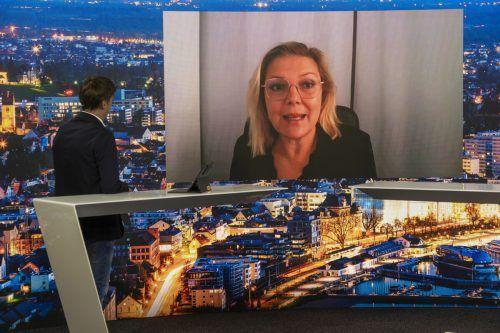 Kathrin Stainer-Hämmerle von der FH Klagenfurt schaltete sich ins Vorarlberg-live-Studio zu. VN/Paulitsch
