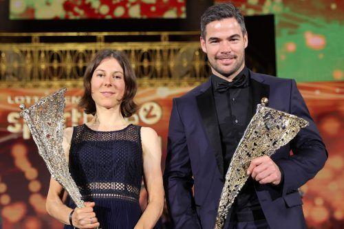 Siegerbild der Sportlerwahl: Rad-Olympiasiegerin Anna Kiesenhofer und Ski-Doppel-Weltmeister Vincent Kriechmayr.gepa